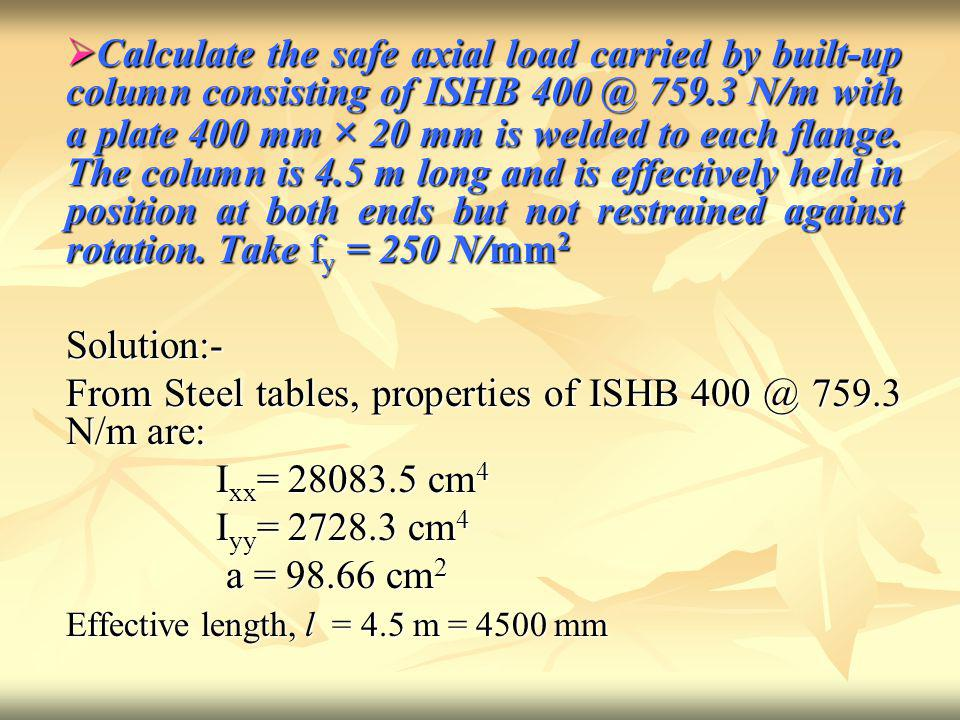 From Steel tables, properties of ISHB 400 @ 759.3 N/m are: