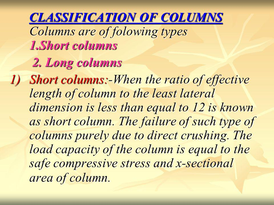CLASSIFICATION OF COLUMNS Columns are of folowing types 1