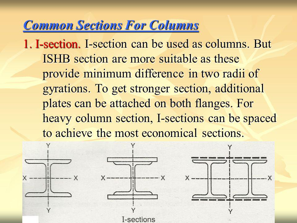 Common Sections For Columns