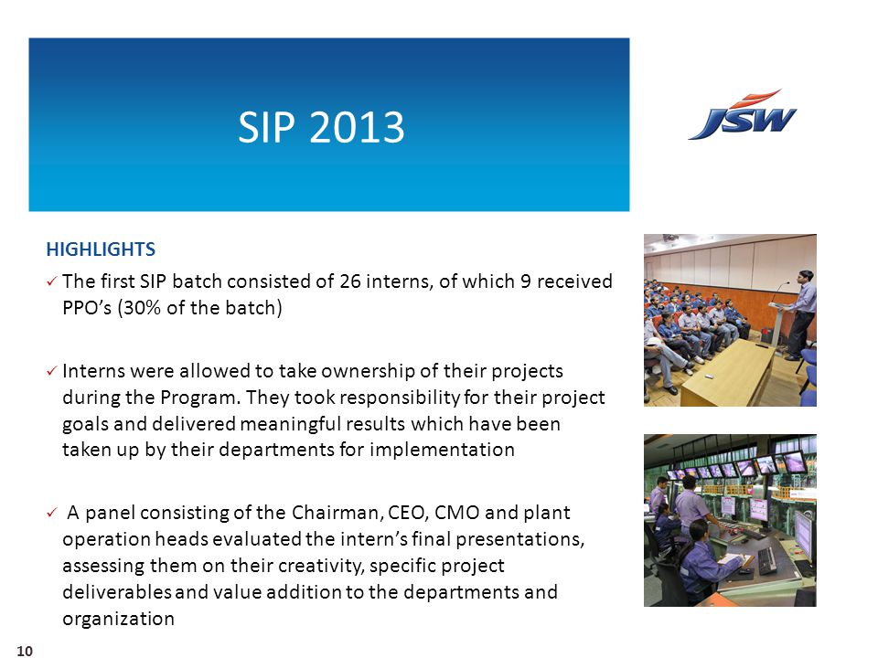 SIP 2013 HIGHLIGHTS. The first SIP batch consisted of 26 interns, of which 9 received PPO's (30% of the batch)