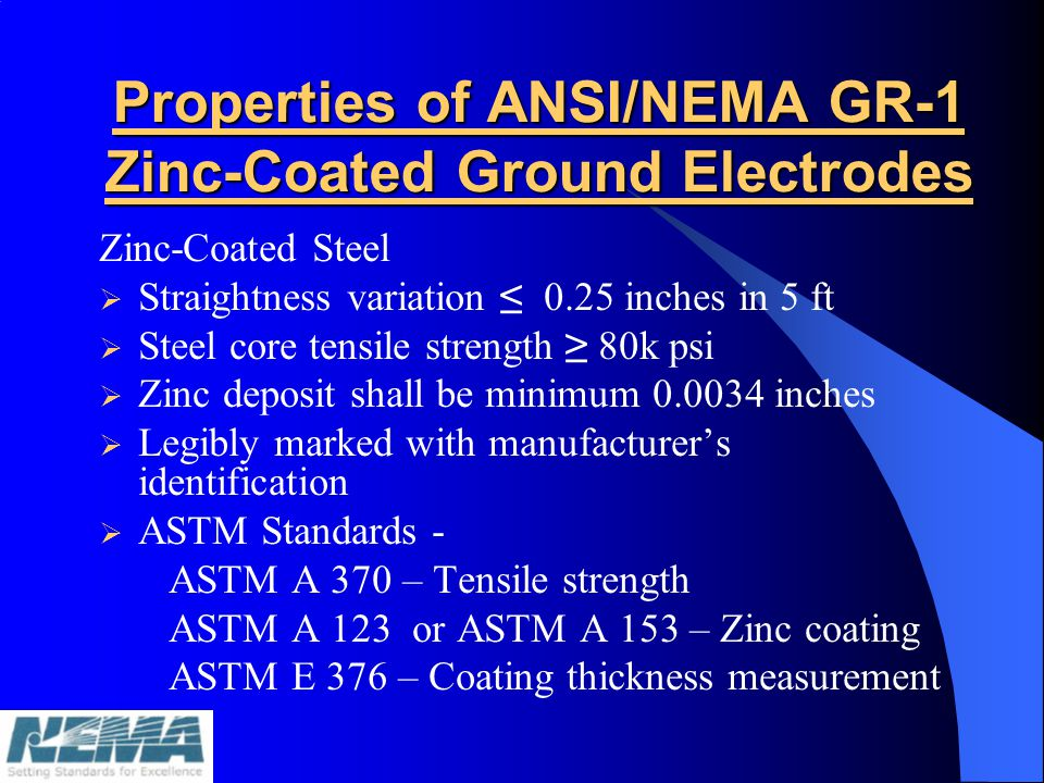 Properties of ANSI/NEMA GR-1 Zinc-Coated Ground Electrodes