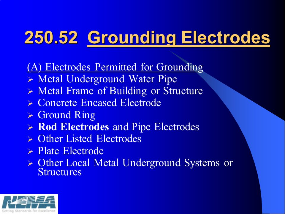 250.52 Grounding Electrodes (A) Electrodes Permitted for Grounding