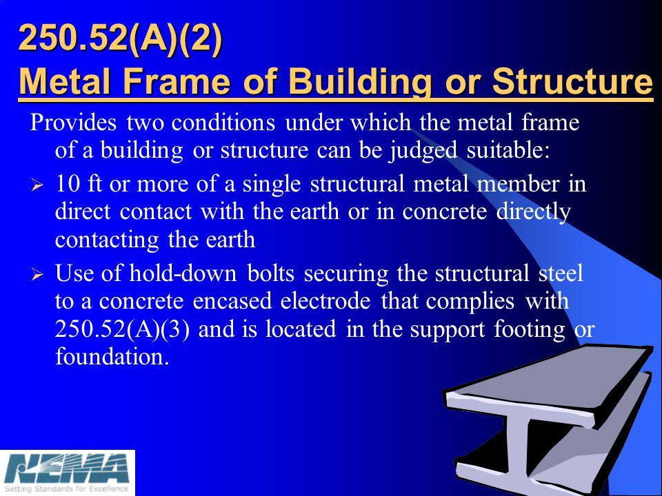 250.52(A)(2) Metal Frame of Building or Structure