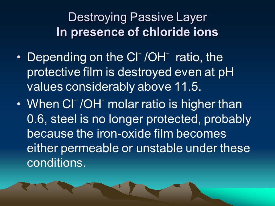 Destroying Passive Layer In presence of chloride ions