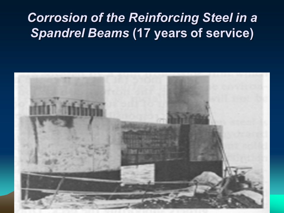 Corrosion of the Reinforcing Steel in a Spandrel Beams (17 years of service)
