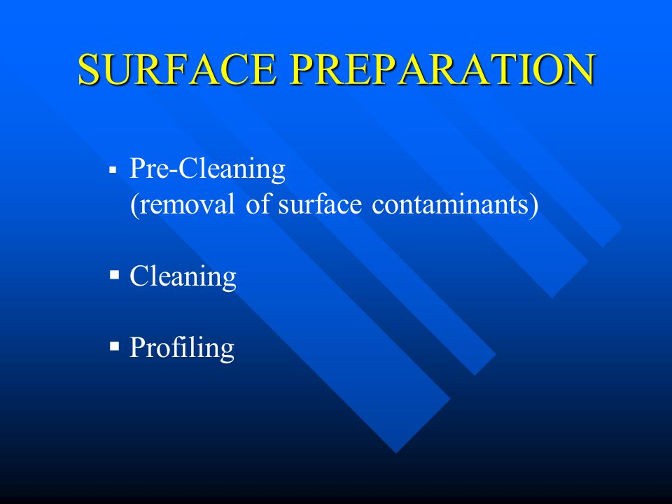 SURFACE PREPARATION (removal of surface contaminants) Cleaning
