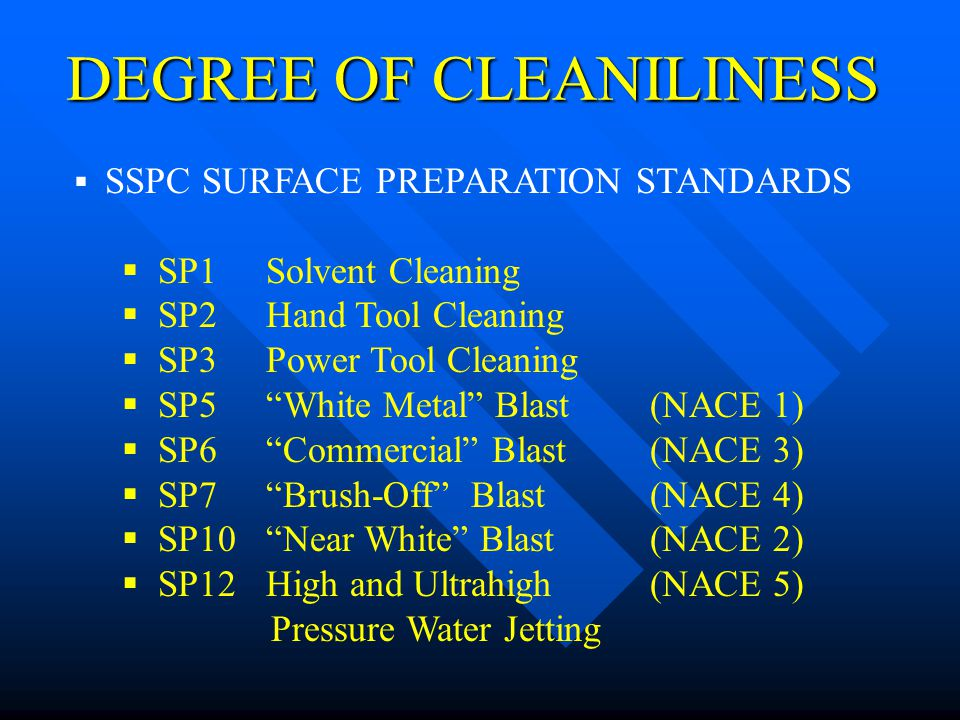 DEGREE OF CLEANILINESS