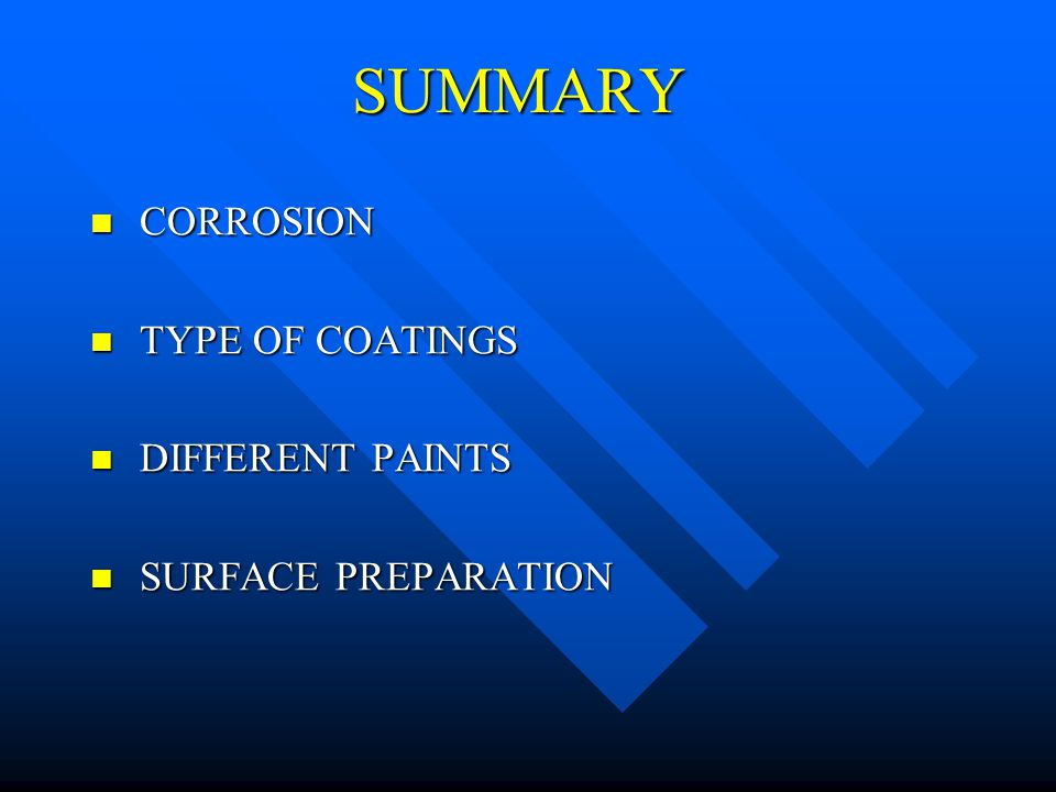 SUMMARY CORROSION TYPE OF COATINGS DIFFERENT PAINTS