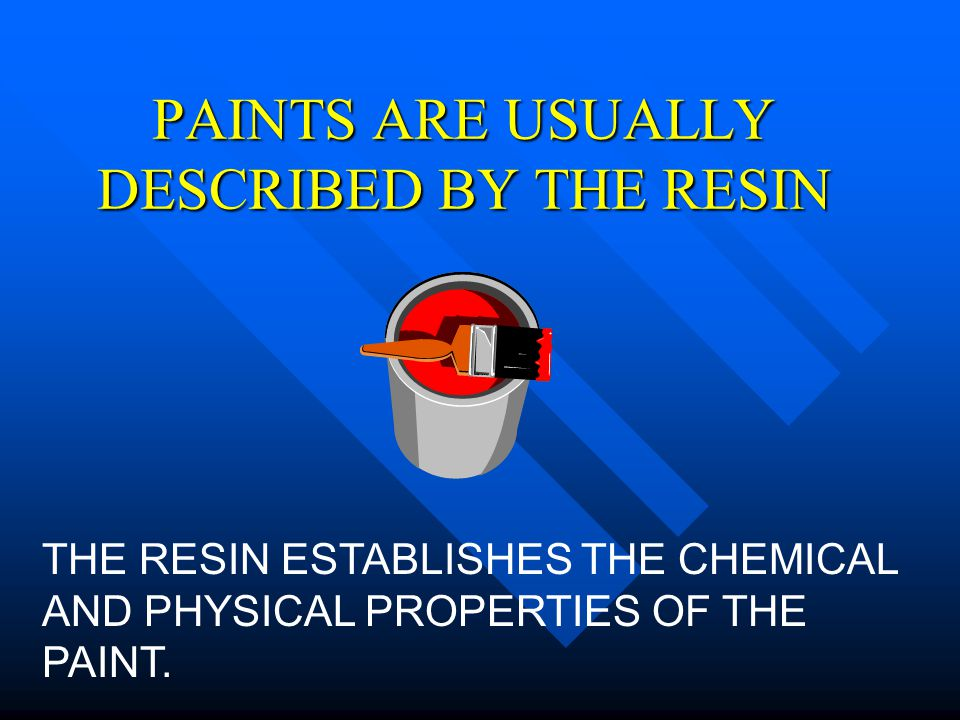 PAINTS ARE USUALLY DESCRIBED BY THE RESIN