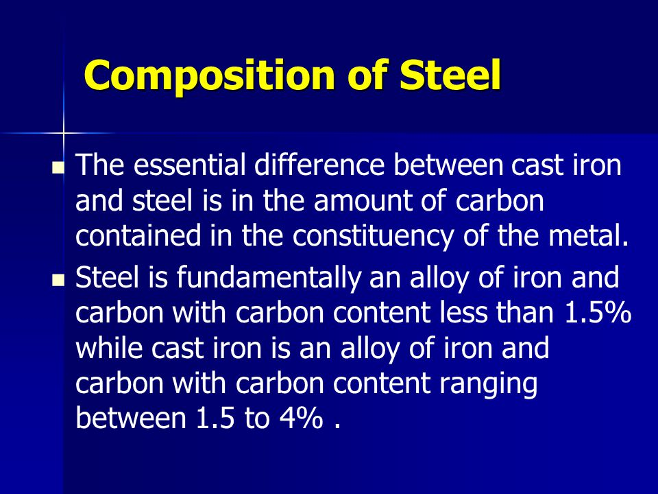 Composition of Steel The essential difference between cast iron and steel is in the amount of carbon contained in the constituency of the metal.