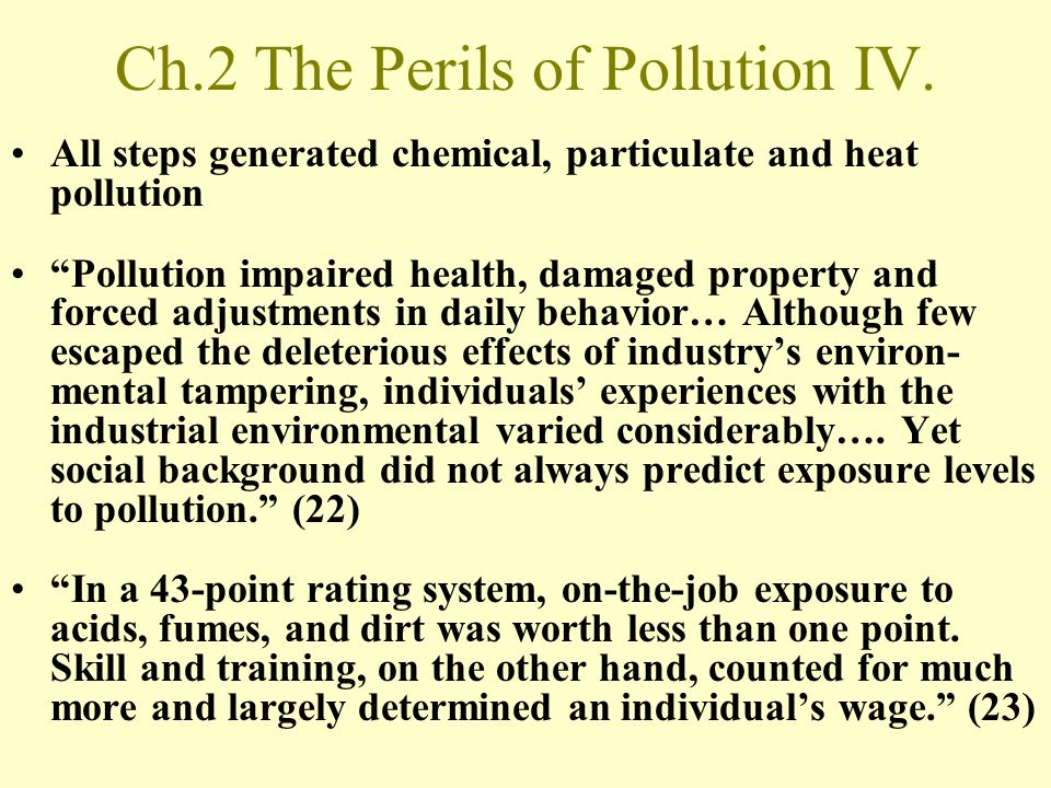 Ch.2 The Perils of Pollution IV.