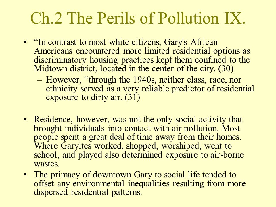 Ch.2 The Perils of Pollution IX.