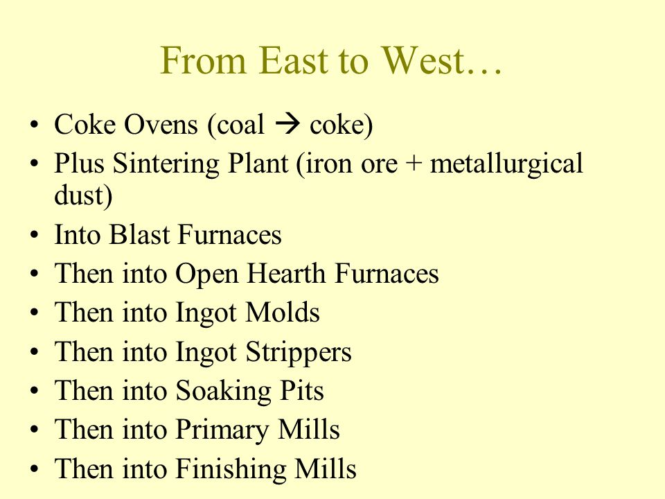 From East to West… Coke Ovens (coal  coke)