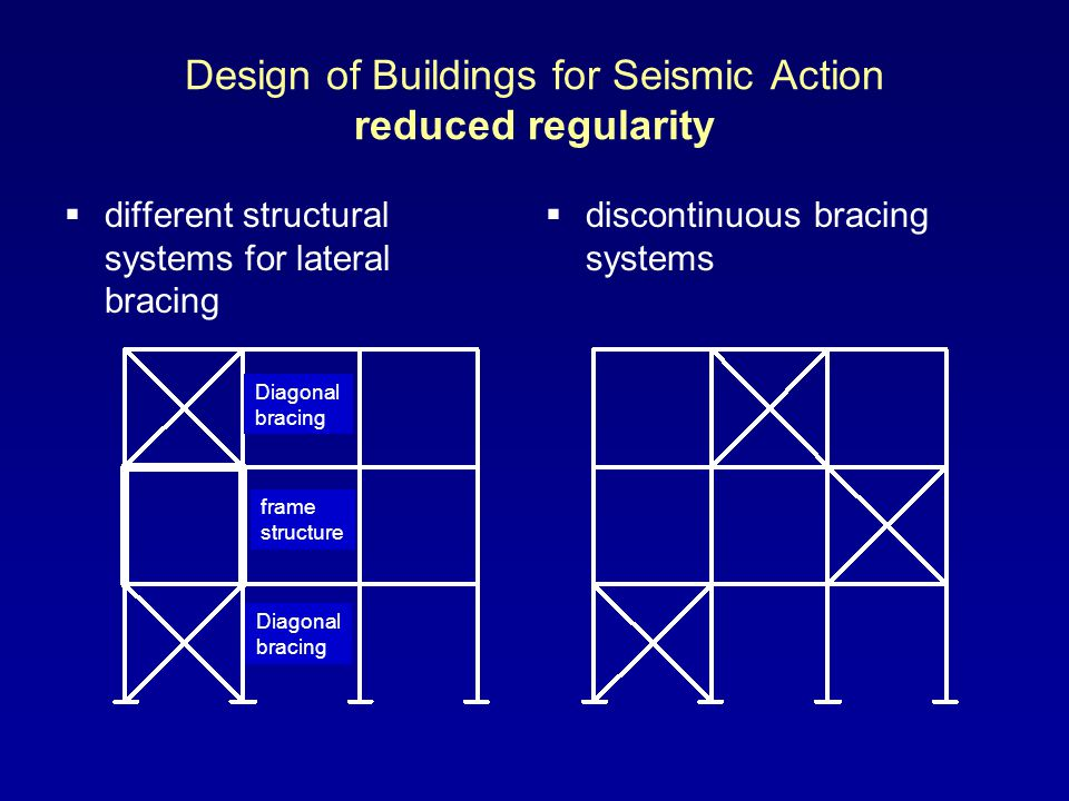Design of Buildings for Seismic Action reduced regularity