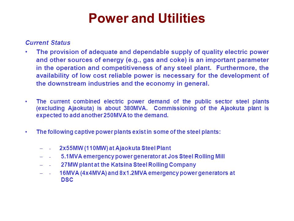 Power and Utilities Current Status