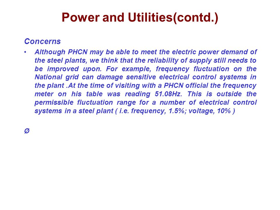 Power and Utilities(contd.)