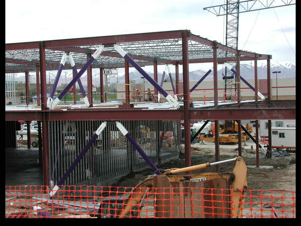The next several slides show steel framed buildings with BRBFs during construction.