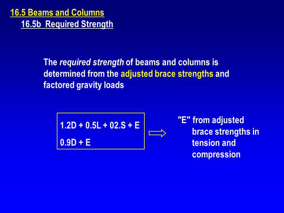 E from adjusted brace strengths in tension and compression