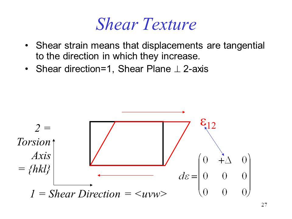 Shear Texture e12 2 = Torsion Axis = {hkl}