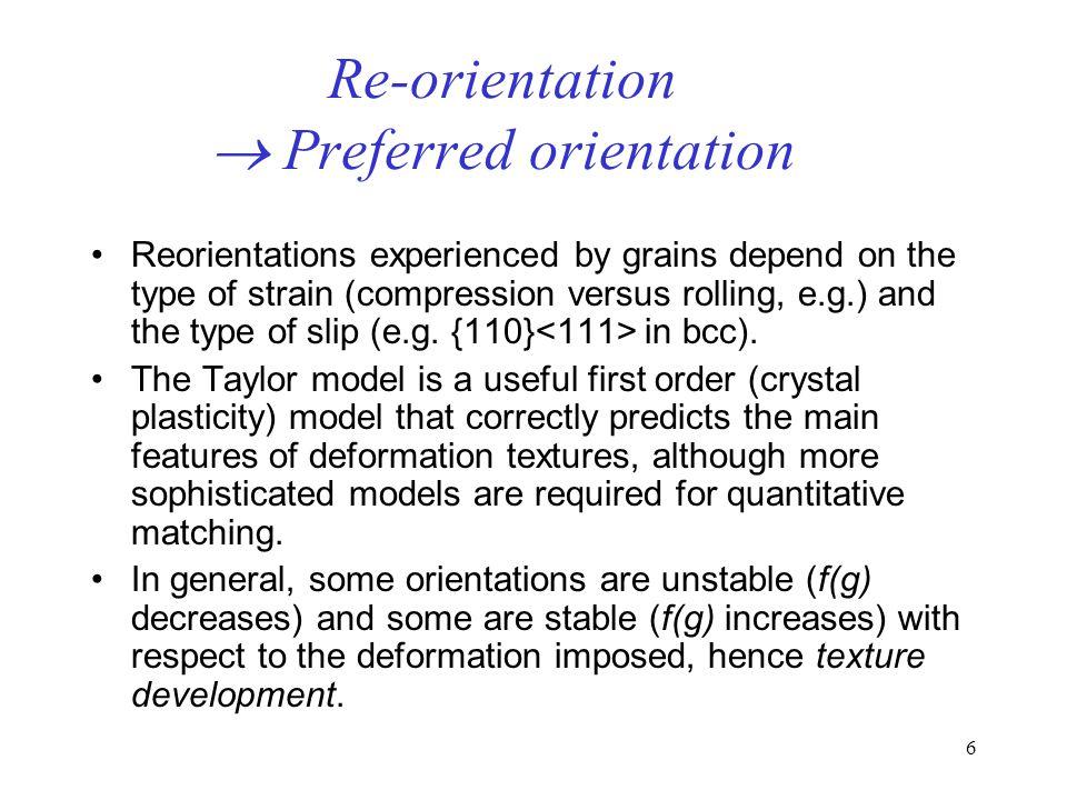 Re-orientation  Preferred orientation