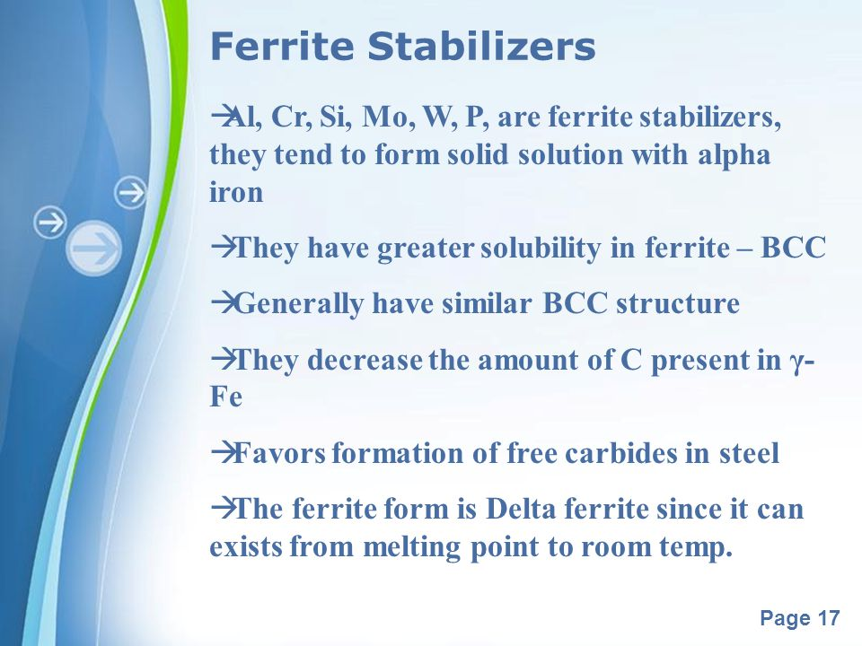 Ferrite Stabilizers Al, Cr, Si, Mo, W, P, are ferrite stabilizers, they tend to form solid solution with alpha iron.