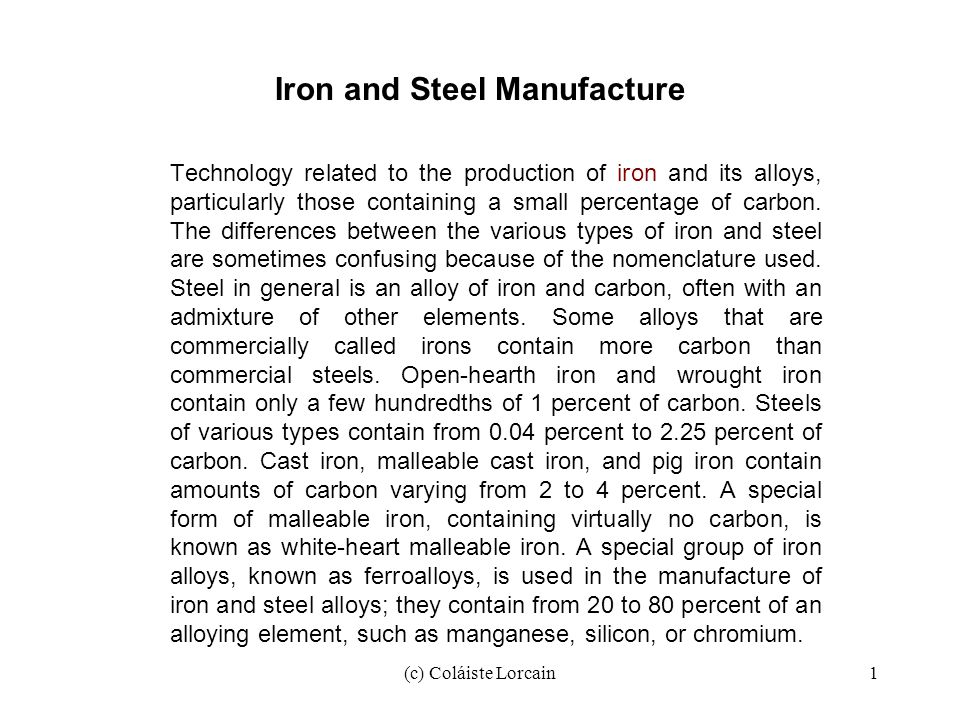 Iron and Steel Manufacture