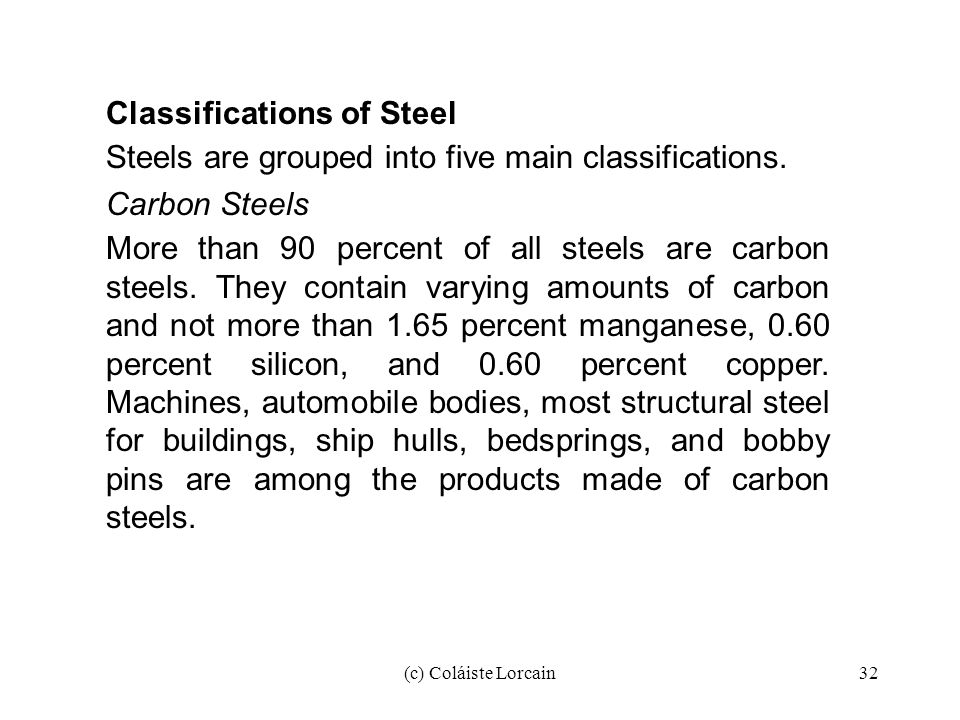 Classifications of Steel