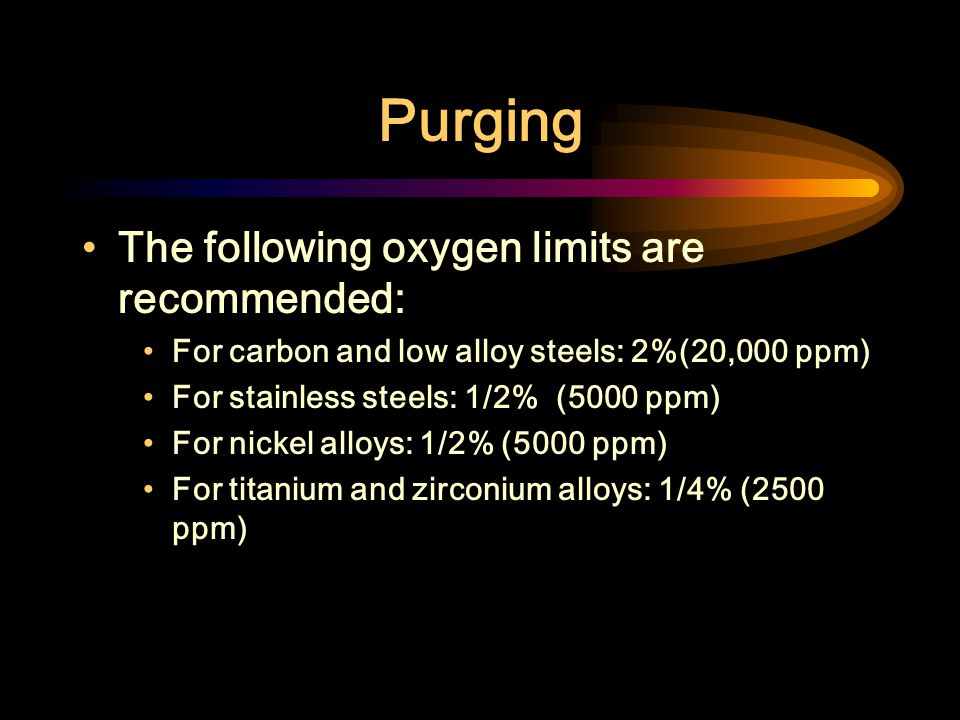 Purging The following oxygen limits are recommended: