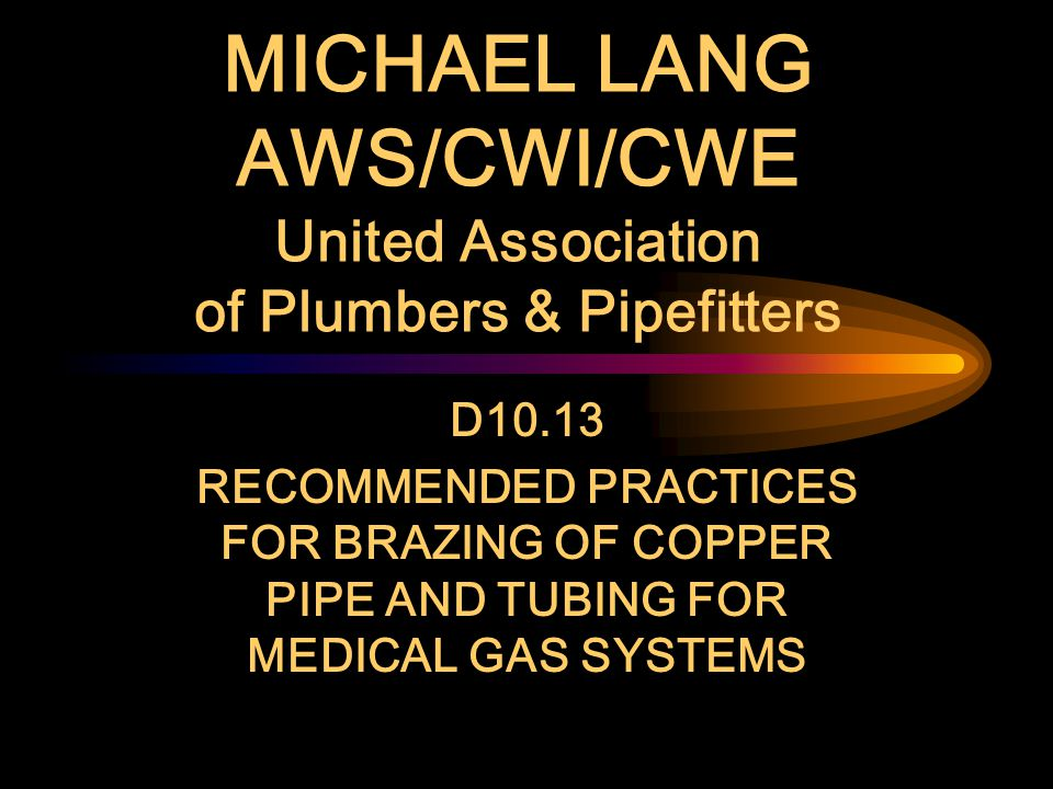 MICHAEL LANG AWS/CWI/CWE United Association of Plumbers & Pipefitters