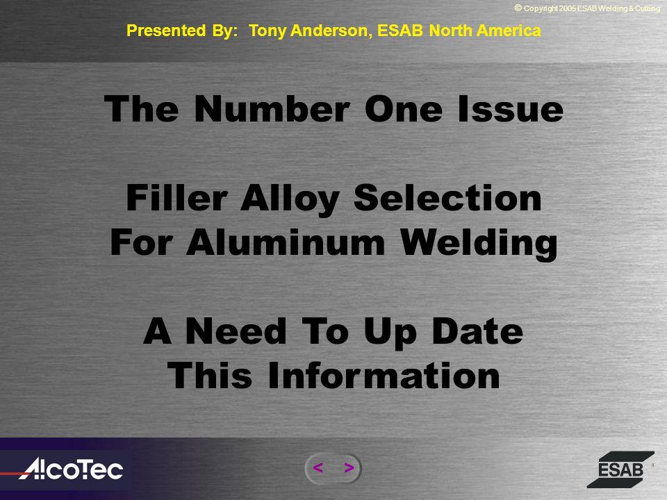 Presented By: Tony Anderson, ESAB North America