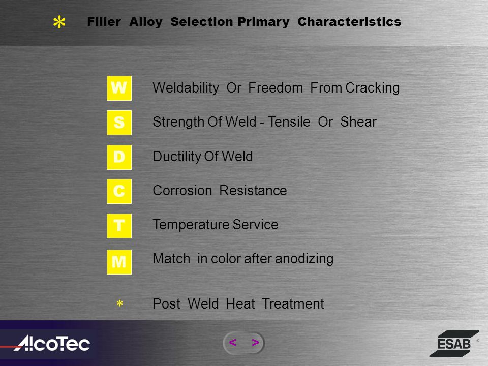 Filler Alloy Selection Primary Characteristics