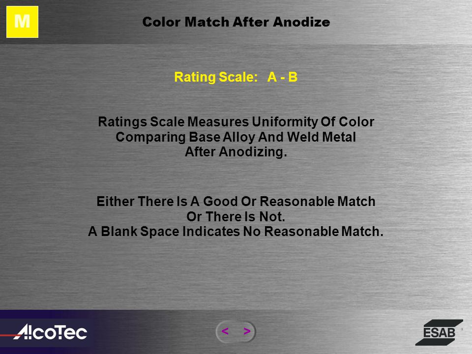 M Color Match After Anodize Rating Scale: A - B