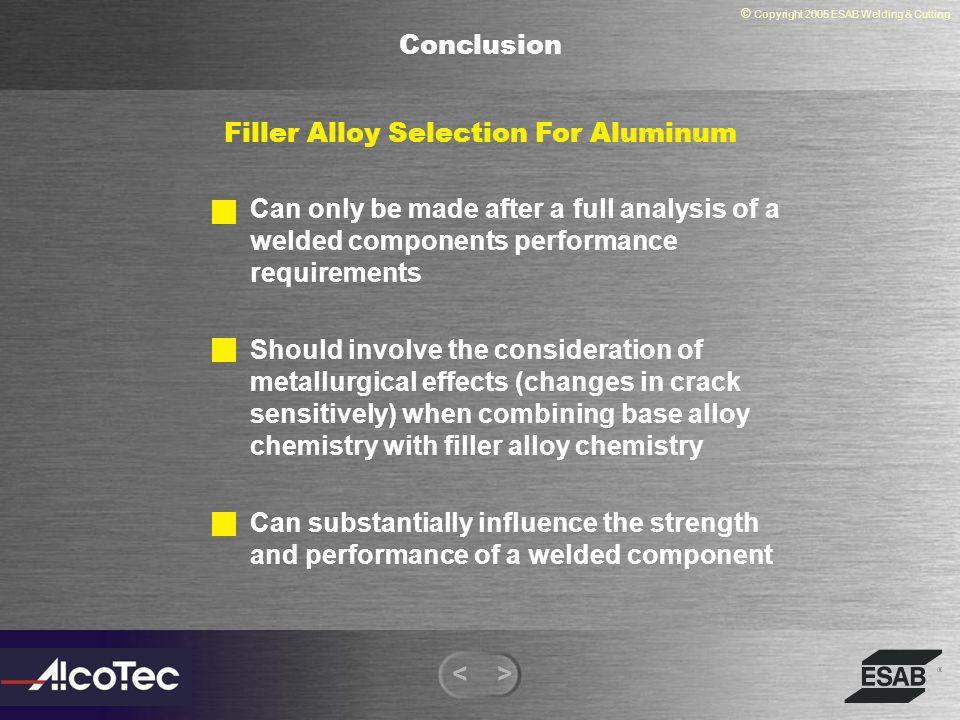 Filler Alloy Selection For Aluminum