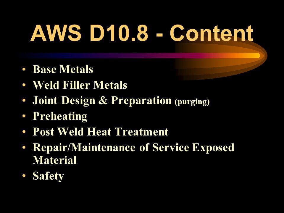 AWS D10.8 - Content Base Metals Weld Filler Metals