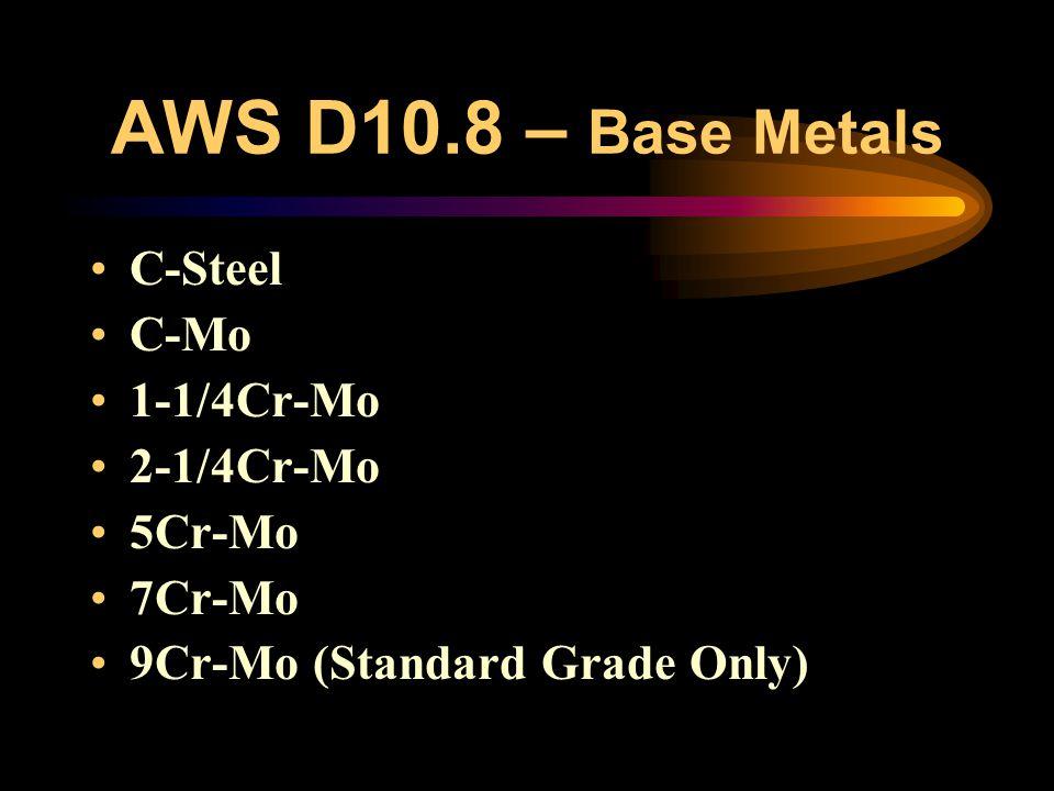 AWS D10.8 – Base Metals C-Steel C-Mo 1-1/4Cr-Mo 2-1/4Cr-Mo 5Cr-Mo