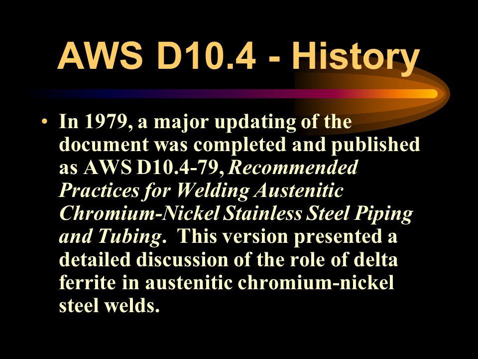 AWS D10.4 - History