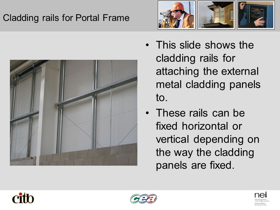 Cladding rails for Portal Frame