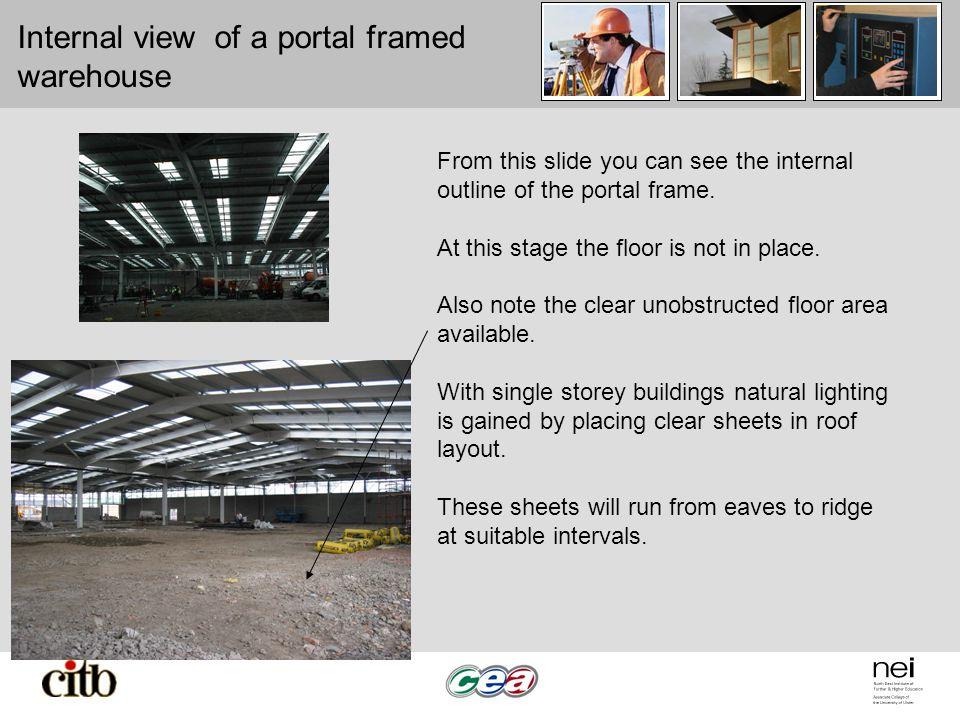 Internal view of a portal framed warehouse