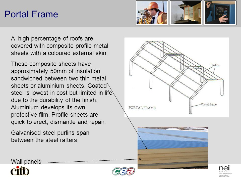 Portal Frame A high percentage of roofs are covered with composite profile metal sheets with a coloured external skin.