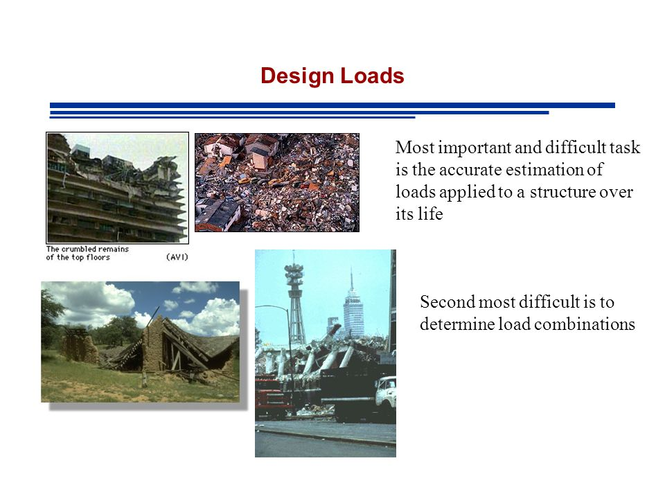 Design Loads Most important and difficult task is the accurate estimation of loads applied to a structure over its life.