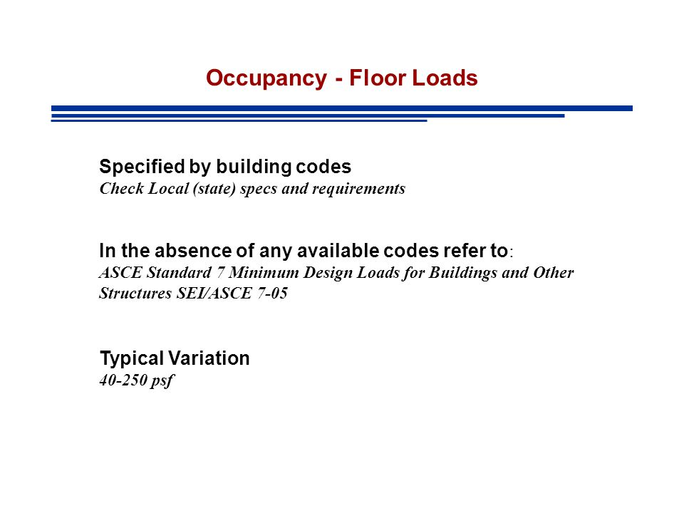 Occupancy - Floor Loads