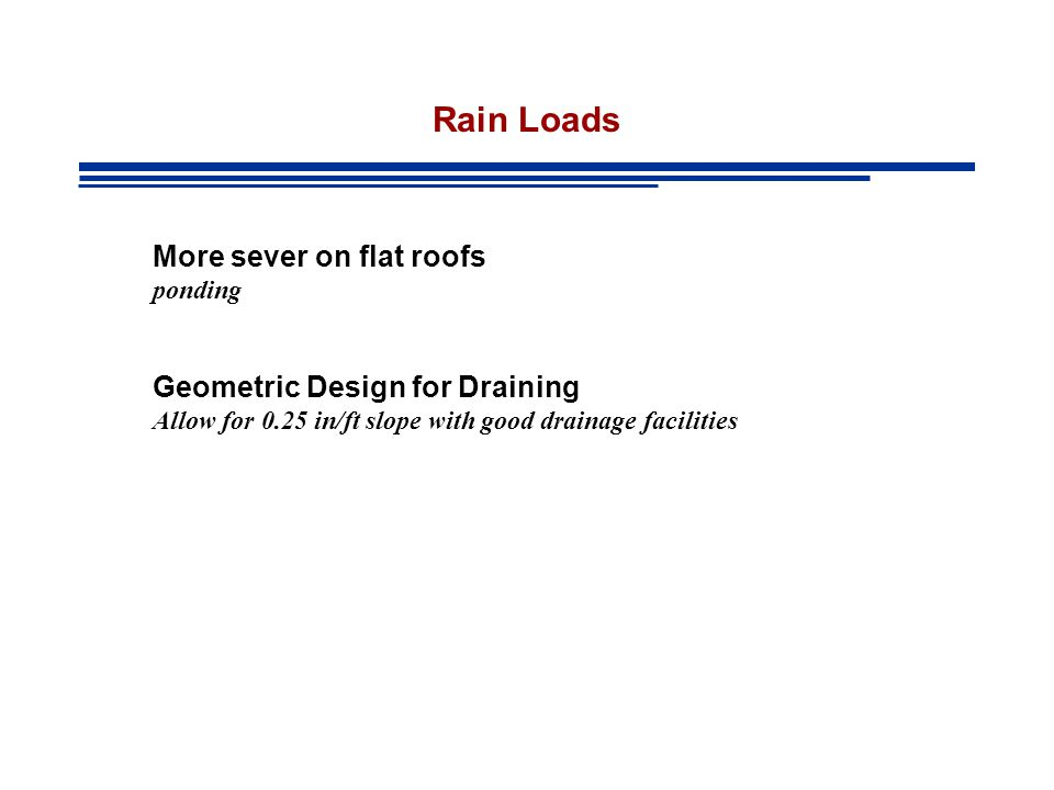 Rain Loads More sever on flat roofs Geometric Design for Draining