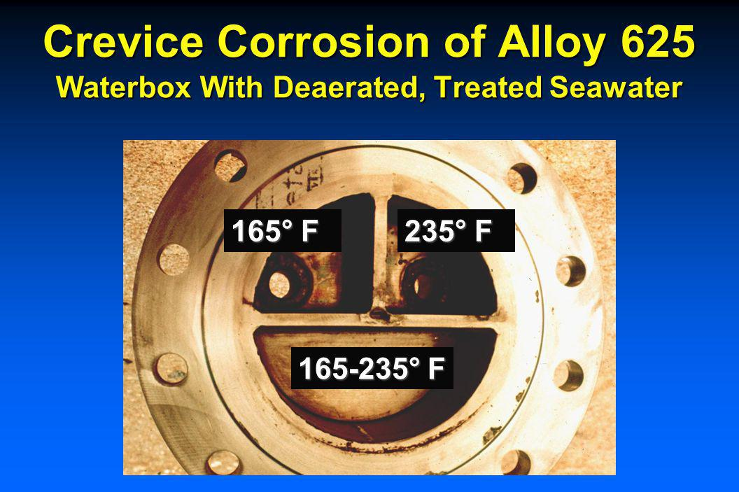 Crevice Corrosion of Alloy 825 Heat Exchanger Tubesheet – Water Side 225° F, Deaerated, Treated Seawater