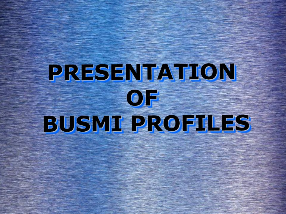 PRESENTATION OF BUSMI PROFILES