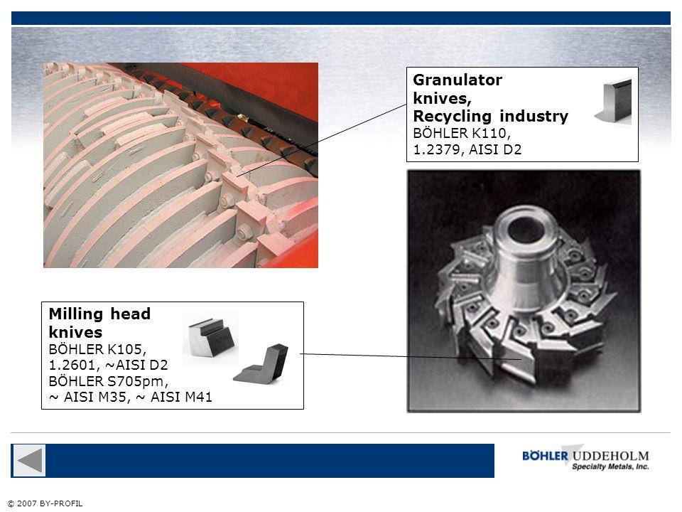 Granulator knives, Recycling industry Milling head knives BÖHLER K110,