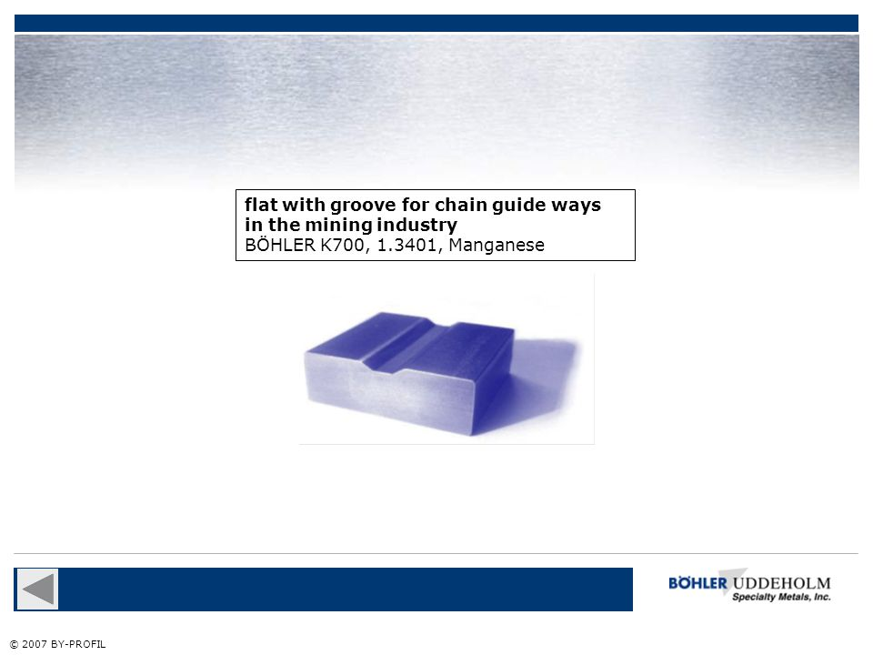 flat with groove for chain guide ways in the mining industry