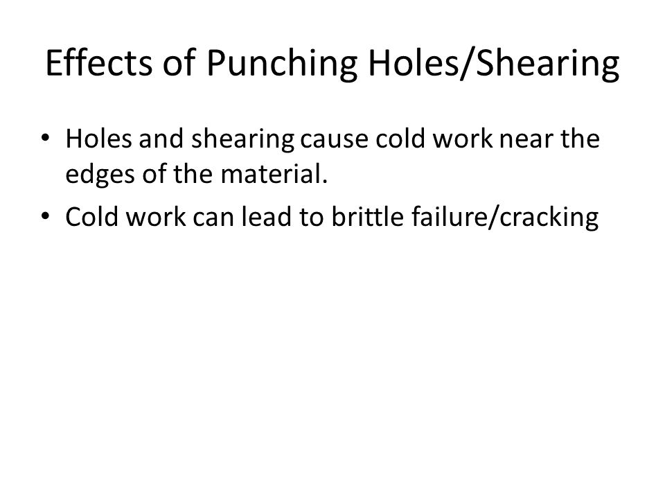 Effects of Punching Holes/Shearing
