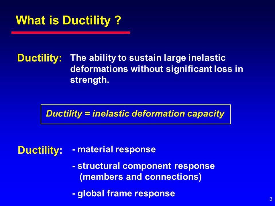 Ductility = inelastic deformation capacity