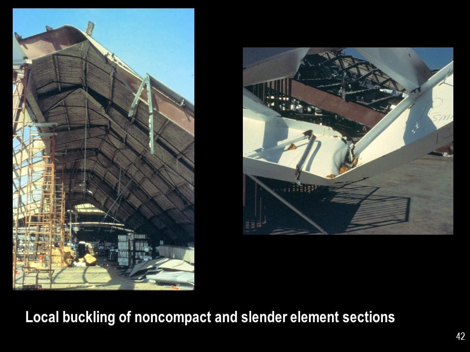 Local buckling of noncompact and slender element sections