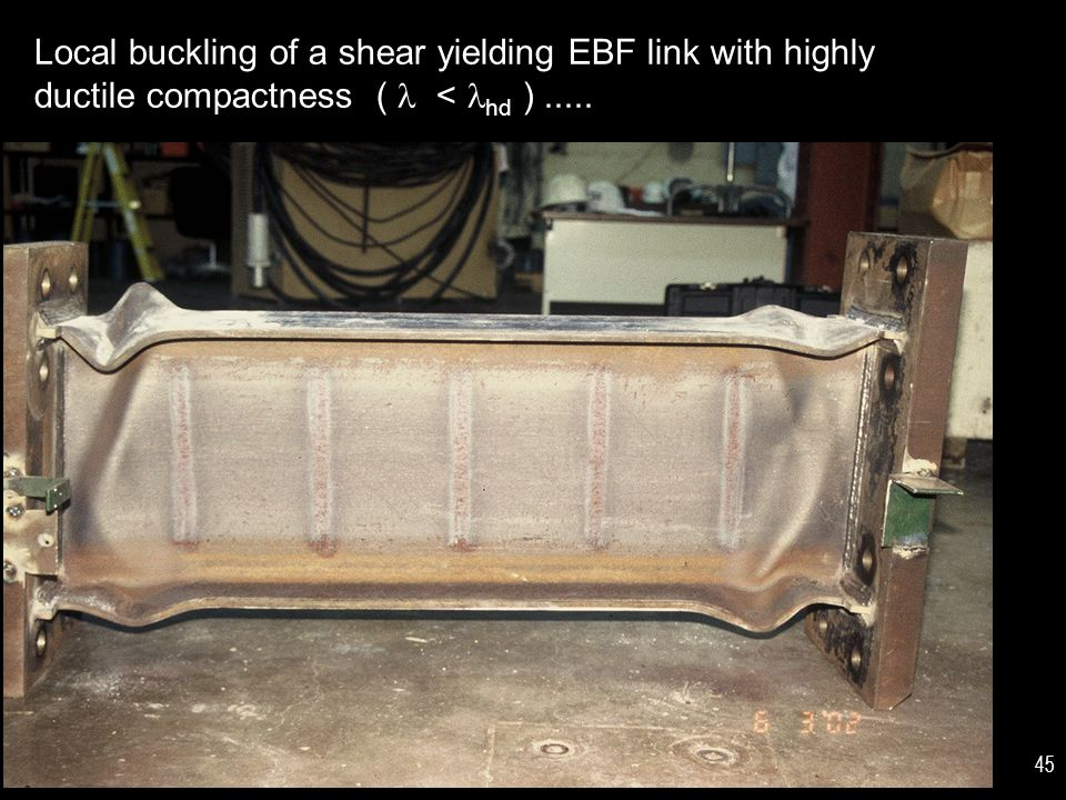 Local buckling of a shear yielding EBF link with highly ductile compactness (  < hd ) .....